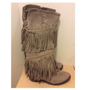 Not Rated Tan Fringe Boots